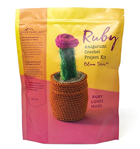 Ruby The Cactus Crochet Kit an Amigurumi DIY Craft Project with Everything Including a Hook, Pattern, Yarn, Needle and Video Instructions - Easy to Learn DIY Gift Kits by Backyard Art