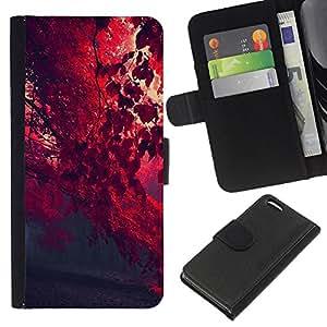 LECELL--Cuero de la tarjeta la carpeta del tirón Smartphone Slots Protección Holder For Apple Iphone 5C -- Red Leaf Forrest --