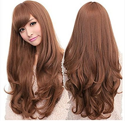 Women's Long Hair Wig Long Wavy Cosplay Hair With Oblique -