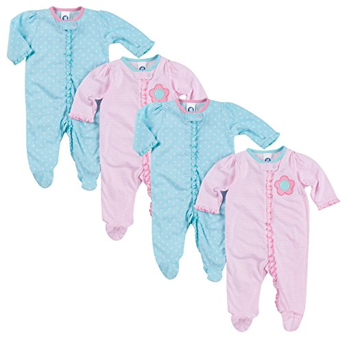 Gerber Baby Girl 100% Cotton Floral & Stripes Zip Front Onesie Set, Pink/Blue, 6-9 Months, 4 - Onesie Designs Best