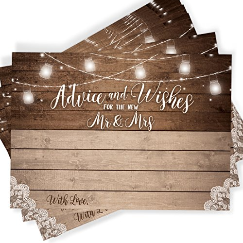 Printed Party 50 Rustic Wedding Advice Cards and Well Wishes for the Bride and Groom | Guest Book Alternative | Bridal Shower Games ()