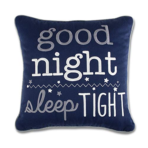 Wendy Bellissimo Super Soft Square Decorative Pillow + Throw Pillow (11x11) Nursery Décor - Good Night Sleep Tight in Navy and White ()