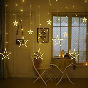 Amazon twinkle star 12 stars 138 led curtain string lights twinkle star 12 stars 138 led curtain string lights window curtain lights with 8 flashing solutioingenieria Choice Image