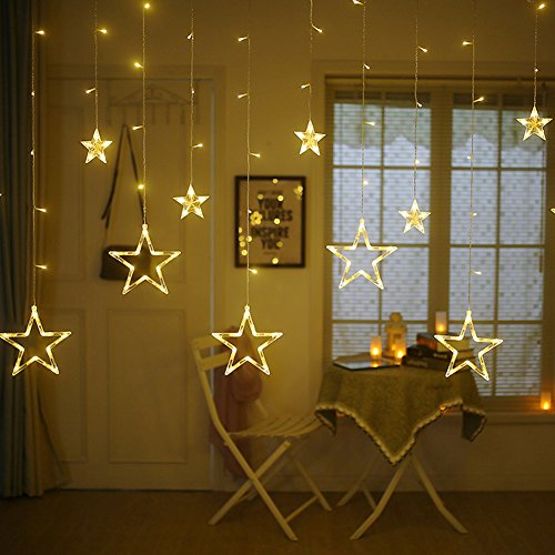 Twinkle Star 12 Stars 138 LED Curtain String Lights, Window Curtain Lights with 8 Flashing Modes Decoration for Christmas, Wedding, Party, Home, Patio Lawn, Warm White (138 LED – Star)