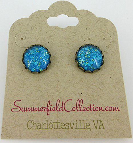 [Antiqued Gold-tone Ocean Blue Glitter Glass Stud Earrings 12mm Hand-painted] (Simple Cheer Dance Costumes)