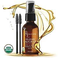 Aceite de ricino orgánico para el crecimiento del cabello - Suero para el crecimiento de las pestañas, Recrecimiento natural del cabello - Mejor para el tratamiento de la pérdida del cabello para cejas, pestañas, cuero cabelludo saludable, reduce el