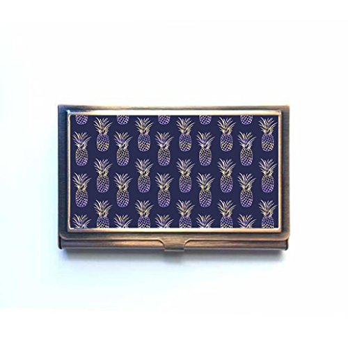 - Summer Fruit Pineapples Custom Business Bank Name Card Case Holder Bronze Box Pocket Credit Card ID Wallet
