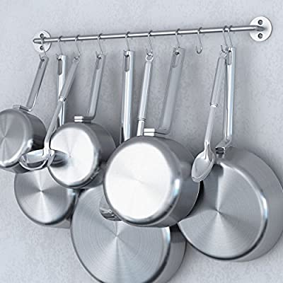 Steel Gourmet Kitchen 24 Inch Wall Rail and 10 S Hooks Set Utensil Pot Pan Lid Rack Storage Organizer Silver Color