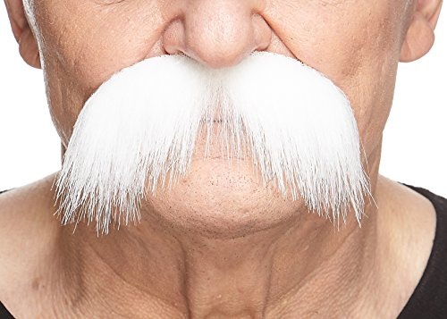 Mustaches Self Adhesive Fake Mustache, Novelty, Walrus False Facial Hair, Costume Accessory for Adults, Costume Accessory for Adults, White Color]()