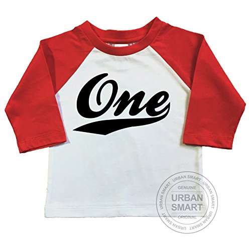 1st Birthday Raglan Shirt For Baby or Infant. Number One With Swoosh Design. (18-24 Months, White Body/Red (Swoosh Design)