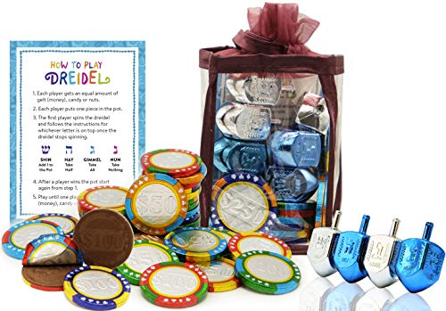 Hanukkah Chocolate Gelt - Chanuka Chocolate Coins - Hanukkah Gift-Set - Chocolate Poker Chips - Chocolate Gelt and Metallic Dreidels In An Adorable Keepsake Bag Kosher O-UD