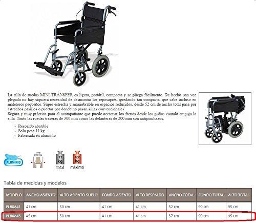 Silla de ruedas ligera aluminio Mini Transfer Ancho 45cm: Amazon.es: Salud y cuidado personal