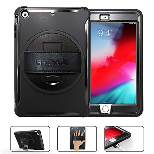 BATYUE iPad Mini 1 Case,iPad Mini 2 Case, iPad Mini 3 Case [Heavy Duty] Rugged Shockproof Protective Cover with 360 Degree Rotating Stand/Leather Hand Strap for Apple iPad Mini 1/2/3 Tablet (Black) (Ipad Air 2 Vs Galaxy Tab A 10-1)