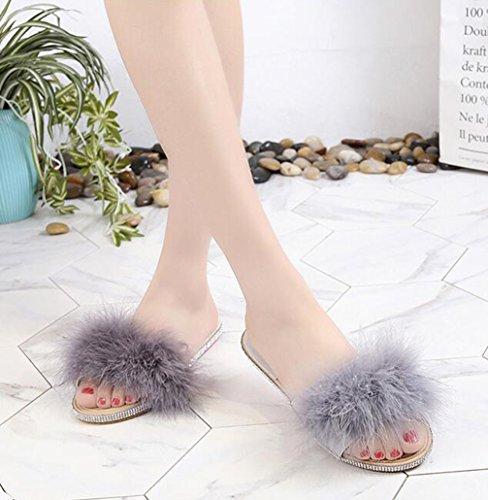 Doux Casual Chaussures Sandales Mules Pantoufles Plates Flop Flip Confortable TWGDH Faux Fourrure Gray Ouvert Fluffy Toe Chaussures 6XqwgnACx