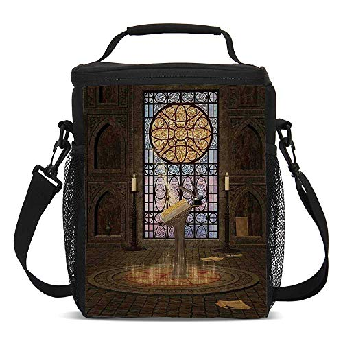 Gothic Beautiful Children's Printed Lunch Bag,Lectern on Pentagram Symbol Medieval Architecture Candlelight in Dark Spell Altar For picnic,One size