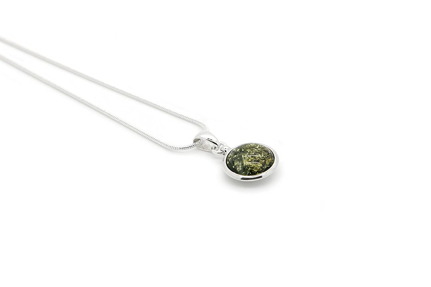 925 Sterling Silver Round Pendant Necklace with Genuine Natural Baltic Green Amber. Chain included