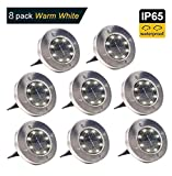 Solar Ground Lights,8 LED Disk Lights Solar Powered Waterproof Garden Pathway Outdoor in-Ground Lights with Light Sensor  Review