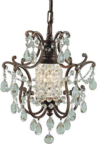 Feiss F1879/1BRB Maison De Ville Crystal Mini Chandelier Lighting, Bronze, 1-Light (11
