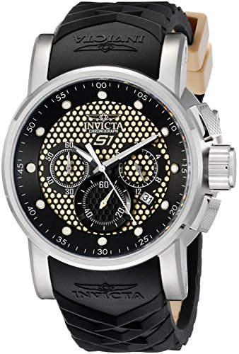 (Invicta Men's 12140 S1 Rally Samurai Chronograph Beige and Black Textured Dial Black and Beige Silicone Watch)