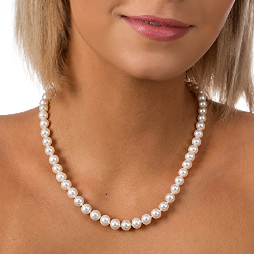 PAVOI Sterling Silver White Freshwater Cultured Pearl Necklace (18, 9mm) by PAVOI (Image #2)