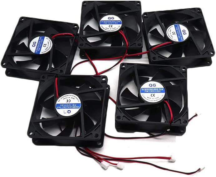 ZXHAO 12V 0.25A DC Brushless Cooling Fan 2pin 80x80x25mm 5pcs