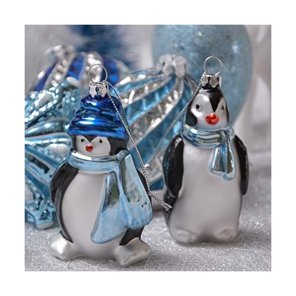 Valery Madelyn Palle di Natale Vetro Addobbi Natalizi Set, 10 Pezzi 8-12cm White And Blue Palline di Natale Decoration for Addobbi Natalizi per Albero 4 spesavip