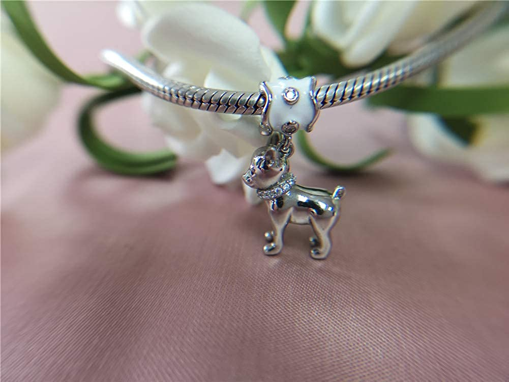 GNOCE Puppy Charm Pendant Sterling Silver Love My Chihuahua Dangle Charm fit for Bracelets for Dog Lovers Animals Lover Wife Daughter Girlfriend