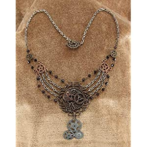 elope Steampunk Gear Chain Necklace for Adults