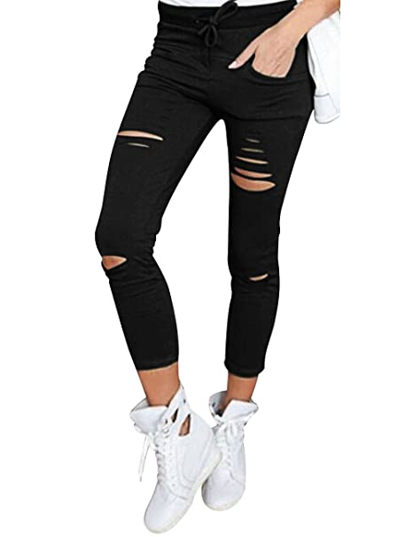 d6408c36967 Flying Rabbit Women s Ripped High Waisted Pants Knee Cut Jeggings Stretchy Skinny  Slim Pencil Pants at Amazon Women s Clothing store