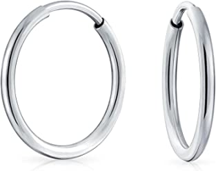 1073cc18df Minimalist Round Shaped Endless Continuous Thin Tube Hoop Earrings For Women  Shinny 925 Sterling Silver .