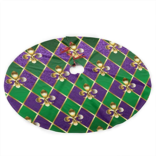 NLXQ Fleur De Lis Mardi Gras Christmas Tree Skirt Ornament 35inch Diameter Christmas Decoration New Year Party Supply -