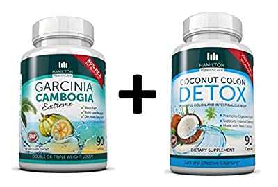 COMBO PACK: Garcinia Cambogia 80% HCA + Coconut Colon Cleanse Detox Supplement 2 PACK for MAXIMUM and FAST results by Hamilton Healthcare