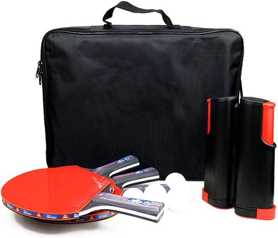 Yunt-11 Juego de paletas Profesionales de Ping Pong, con 1 Bolas de Red retráctiles, 4 paletas/Raquetas de Ping Pong, 8 Bolas Blancas de Ping Pong, Estuche de Almacenamiento Premium