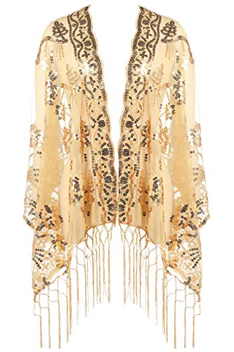 BABEYOND 1920s Shawl Wraps Sequin Fringed Evening Cape Wedding Bridal Shawl Scarf for Evening Dresses Party (Gold)