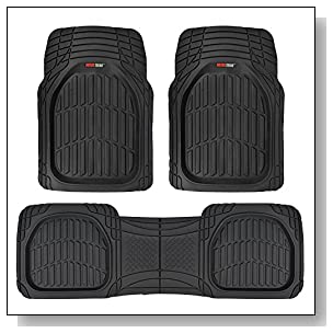 Motor Trend MT-923-BK FlexTough Contour Liners-Deep Dish Heavy Duty Rubber Floor Mats for Car SUV Truck & Van-All Weather Protection (Black)