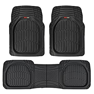 Motor Trend MT-923-BK Black FlexTough Contour Liners-Deep Dish Heavy Duty Rubber Floor Mats for Car SUV Truck + BDK MT-785-BK Black Heavy Duty Cargo Floor Mat-All Weather Trunk Protection