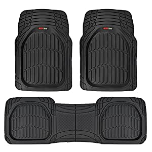 Motor Trend FlexTough Contour Liners - Deep Dish Heavy Duty Rubber Floor Mats for Car SUV Truck & Van - Black