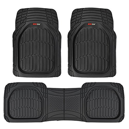 All Weather Heavy Duty Rubber - Motor Trend FlexTough Contour Liners - Deep Dish Heavy Duty Rubber Floor Mats for Car SUV Truck & Van - All Weather Protection (Black)