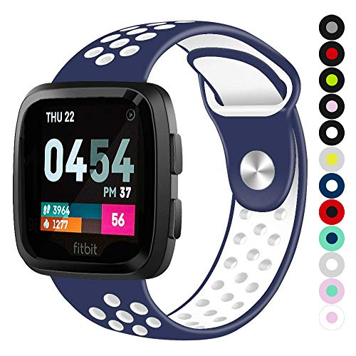 Compatible for Fitbit Versa | Soft Silicone Replacement Sport Band for New Fitbit Versa Smart Watch (Blue/White, Small)