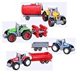 Cltoyvers 4 Pcs Metal Farm Tractor Trailer Toys Vehicle Play Set - Disc Plow, Water Tank, Wagon, Dump Trailer