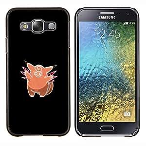 KLONGSHOP // Cubierta de piel con cierre a presión Shell trasero duro de goma Protección Caso - Pinky Rata P0kemon - Samsung Galaxy E5 E500 //