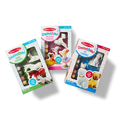 Melissa & Doug Decorate-Your-Own Figurines Craft Kits Set - Ballerinas, Horses, and - Kids Painting Crafts