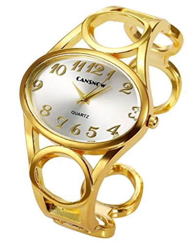 Top Plaza Women Fashion Gold Tone Circle Band Arabic Numeral Scale Bangle Cuff Dress Bracelet Watch