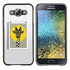 KLONGSHOP // Cubierta de piel con cierre a presión Shell trasero duro de goma Protección Caso - cartel jirafa pintura del arte del verano - Samsung Galaxy E5 E500 //