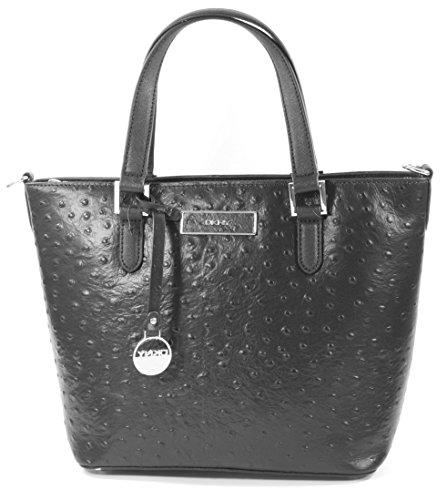 Ostrich Shoulder Handbag Bag Shopper DKNY tote Karan RRP Donna Medium Leather Black w4W1StXvq