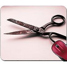 Liili Mousepad IMAGE ID 33031038 Vintage scissors on wooden table