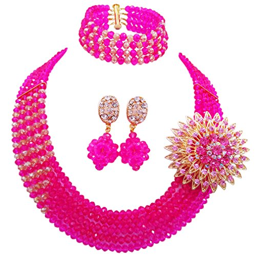 (aczuv African Wedding Jewelry Set Nigerian Beads Necklace Bridal Jewelry Sets (Hot Pink Champagne Gold AB))