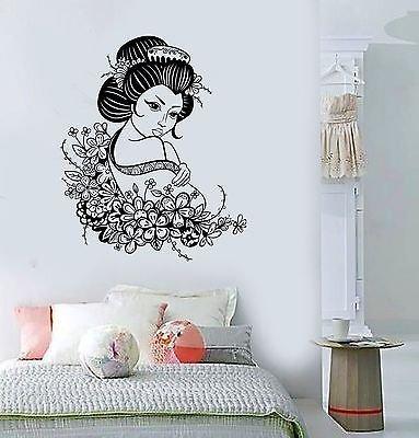 Vinyl Decal Geisha Japan Japanese Flowers Asian Art Decor Wall Stickers VS516