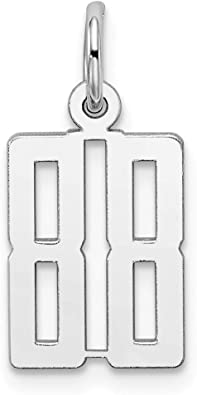 Sterling Silver Medium Polished Number 88 Charm