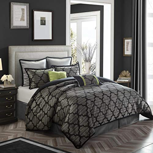 8 Piece Silver Grey Queen Comforter Set, Jacquard Luxury Bedding, Elegant Contemporary Moroccan Design, Faux Silk, Modern Geometric, Black ()